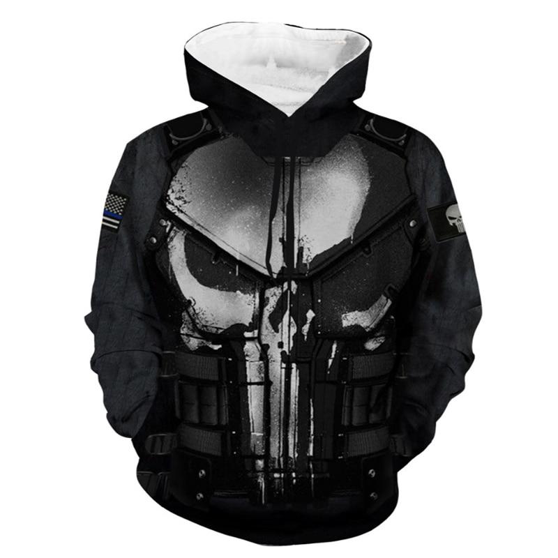 Punisher moda hoodies 3d impressão casual moletom com capuz masculino outono inverno na moda pulôver confortável hoodie masculino topos