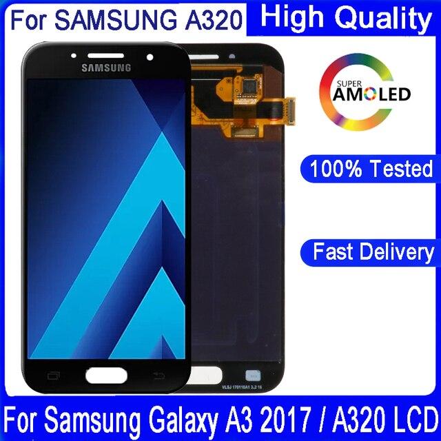 Оригинальный 4,7 amoled ЖК дисплей для Samsung Galaxy A3 2017 A320 A320F, ЖК дисплей, сенсорный экран, дигитайзер, для сборки, запасные части