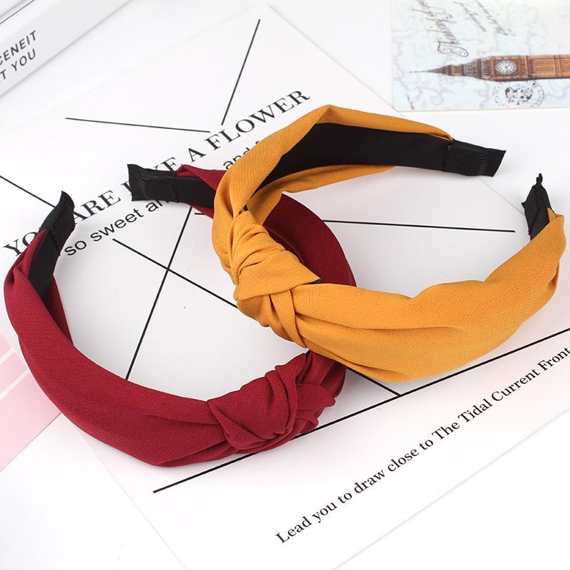 Ins Fashion Elegant Knot Elastic Hair Bands Girls Hair Accessories Pure Color Woman Headband Fashion Wide Side Hair Hoop