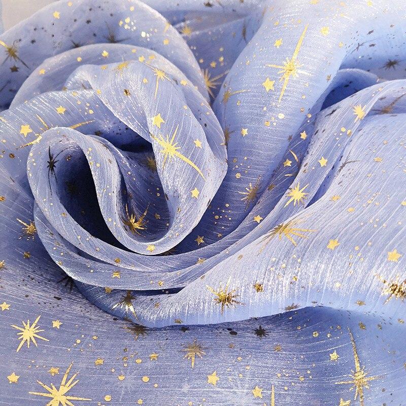 150*100CM Fabric Gold Stars Printed Clothes DIY Baby Shower Tutu Skirt Sashes Princess Dress Wedding Party Home Decor Supplies.