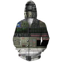 Plstar cosmos transporte da gota ableton vivo zíper jaqueta dj disco 3d impresso moda zip-up hoodie unisex casual streetwear