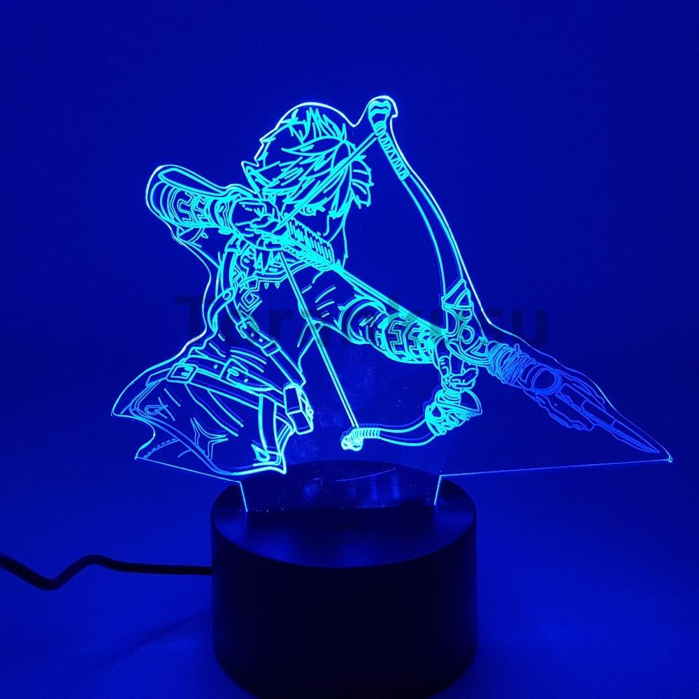 Zelda Anime Figure 3D Toys Night Lights Breath Wild Model Doll Action Figurals Brinquedos Link Zelda Desk Led Juguetes Link Doll