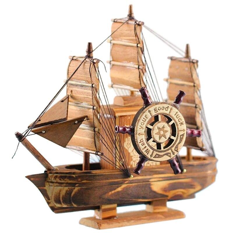 Акция-винтажный морской мореходный Деревянный Парусный Корабль деревянные изделия орнаменты вечерние украшения для дома