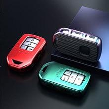 TPU Carbon Fiber Car Remote Key Case Cover for Honda Accord Pilot CRV Civic 2017 HRV  City Odyssey Fit Freed Vezel Jazz Keychain
