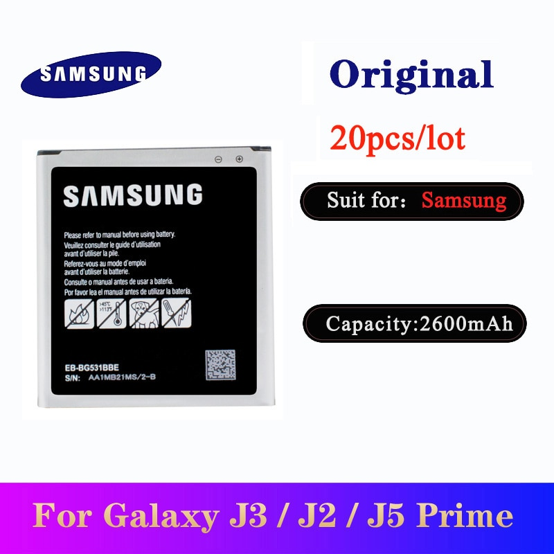 20pcs/lot EB-BG531BBE Battery for Samsung Galaxy Grand Prime J3 2016 /J2 prime G530 G532F /J5 2015 G531H/DS Original Bateria