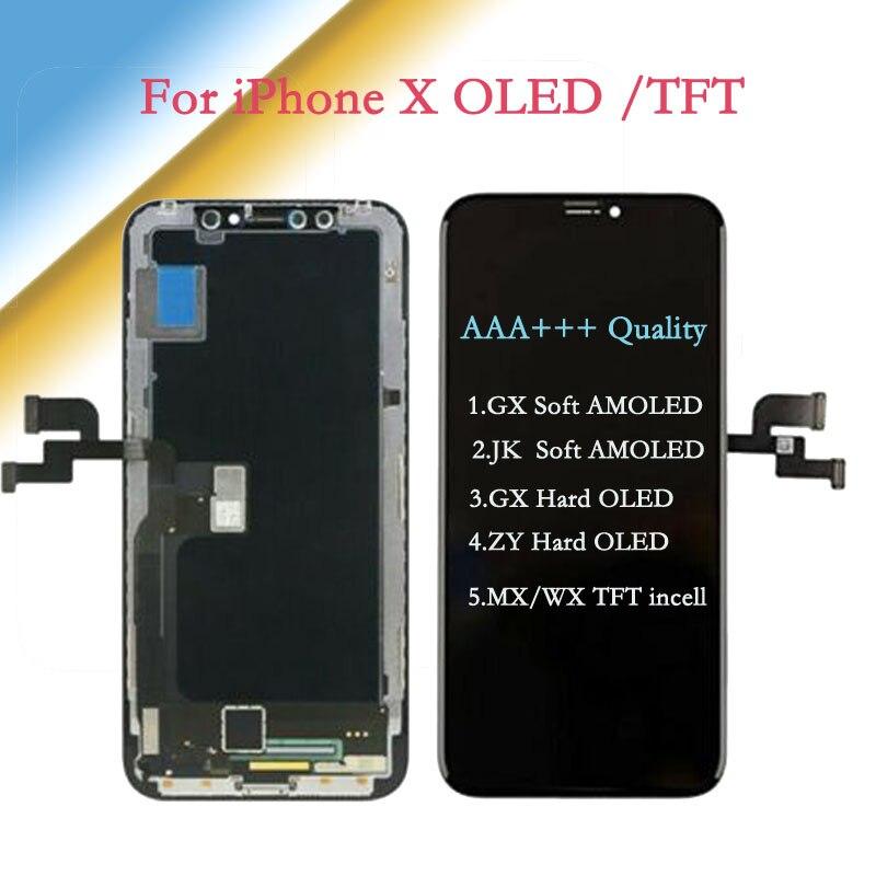Pantalla táctil AAA Soft + para iPhone X AMOLED JK/GX, pantalla táctil suave OLED con ensamblaje digitalizador GX/ZY-Hard-OLED, pantalla de repuesto TFT LCD