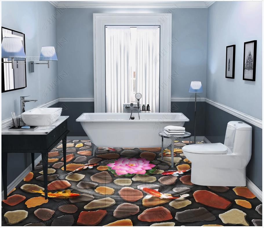 Cuadro personalizado autoadhesivo papel pintado de suelo pez hoja de loto piedra patrón mural 3D baño piso cuadro adhesivo para pared