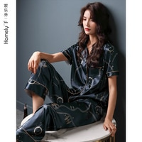 Pajamas WOMEN\'S Summer Silk Ice Silk Short Sleeve Pants Tracksuit Summer Thin Imitated Silk Fabric Casual Two-Piece Suit