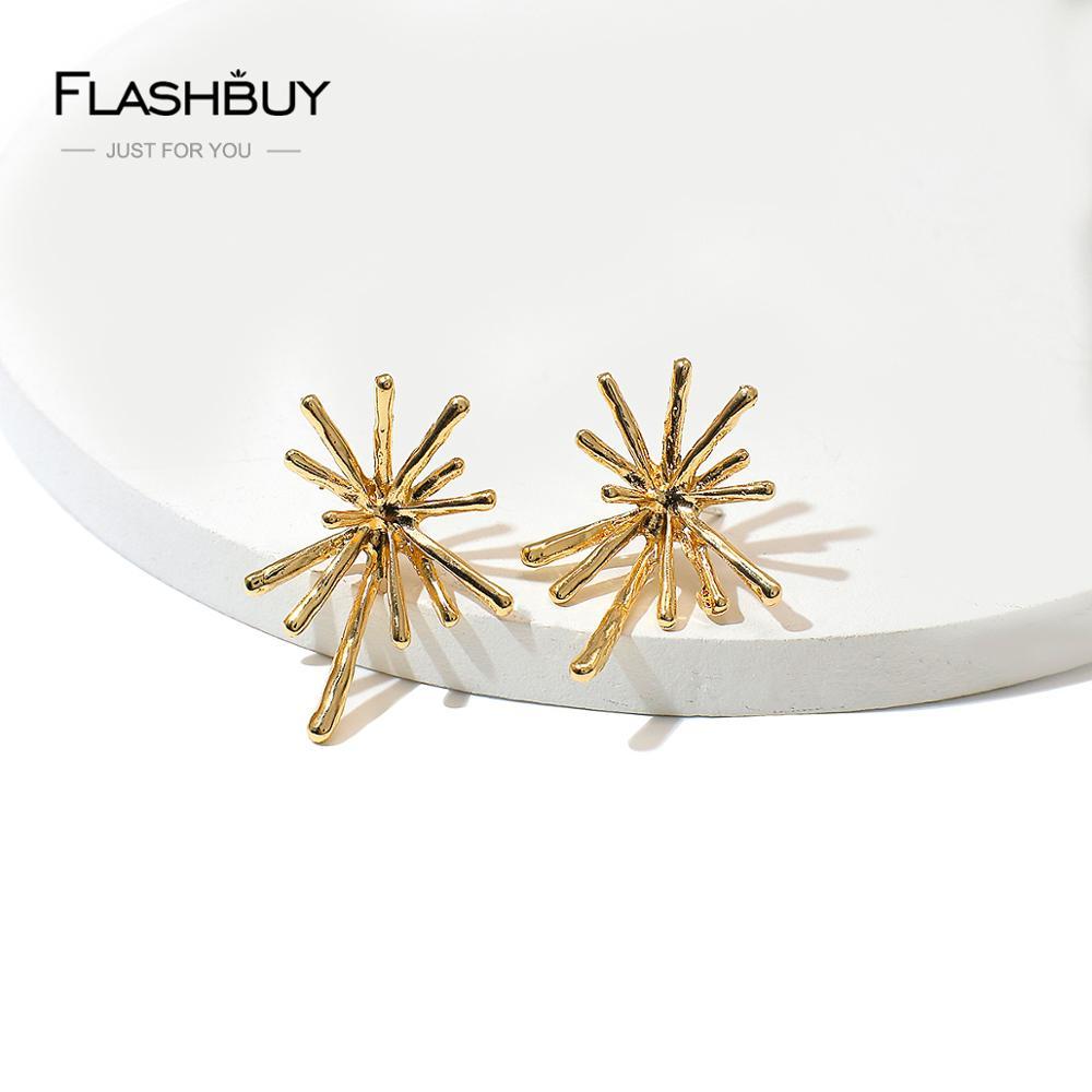 Flashbuy mode métal boucles doreilles goutte pour les femmes Simple couleur or feu dartifice déclaration boucles doreilles fête bijoux Brinco