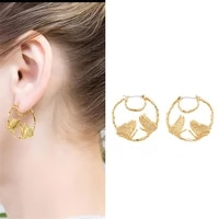 european and american simple fashion personality geometric round earrings butterfly earring temperament all match earrings women