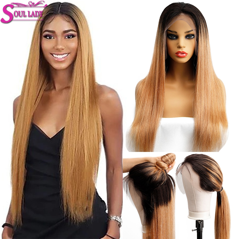 Soul Lady-شعر مستعار هندي طبيعي ناعم ، شعر أشقر مظلل 1b 27 ، كثافة 180% ، للنساء