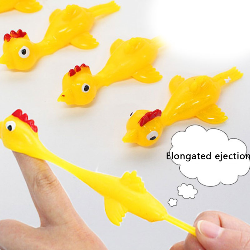 Novelty Gags & Practical Joke Toys Funny Laugh Rubber Chicken Toy Stretchy Flying Turkey Finger Birds Sticky Toy