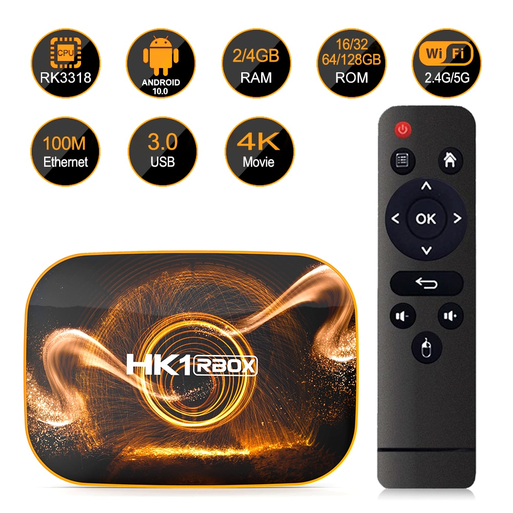 Smart TV BOX Android 10.0 HK1 Rbox 2/4GB RAM 16/32/64GB ROM Rockchip Rk3318 2.4/5G Wifi BT4.0 4K lecteur multimédia décodeur