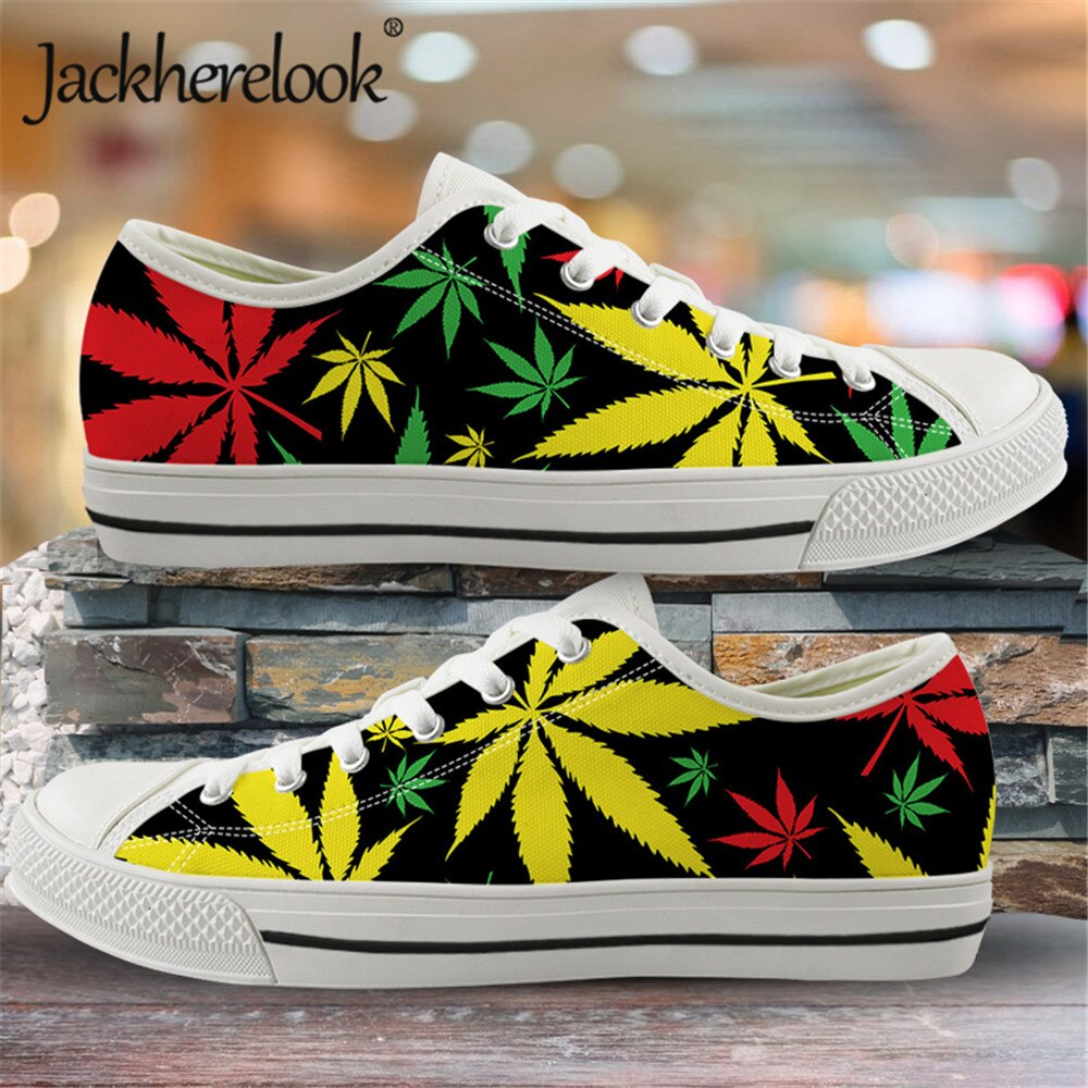 Jackherelook 2020 Jamaica coloridos zapatos de lona con estampado de hojas de cáñamo para hombres zapatos bajos para caminar zapatillas al aire libre zapatos vulcanizados