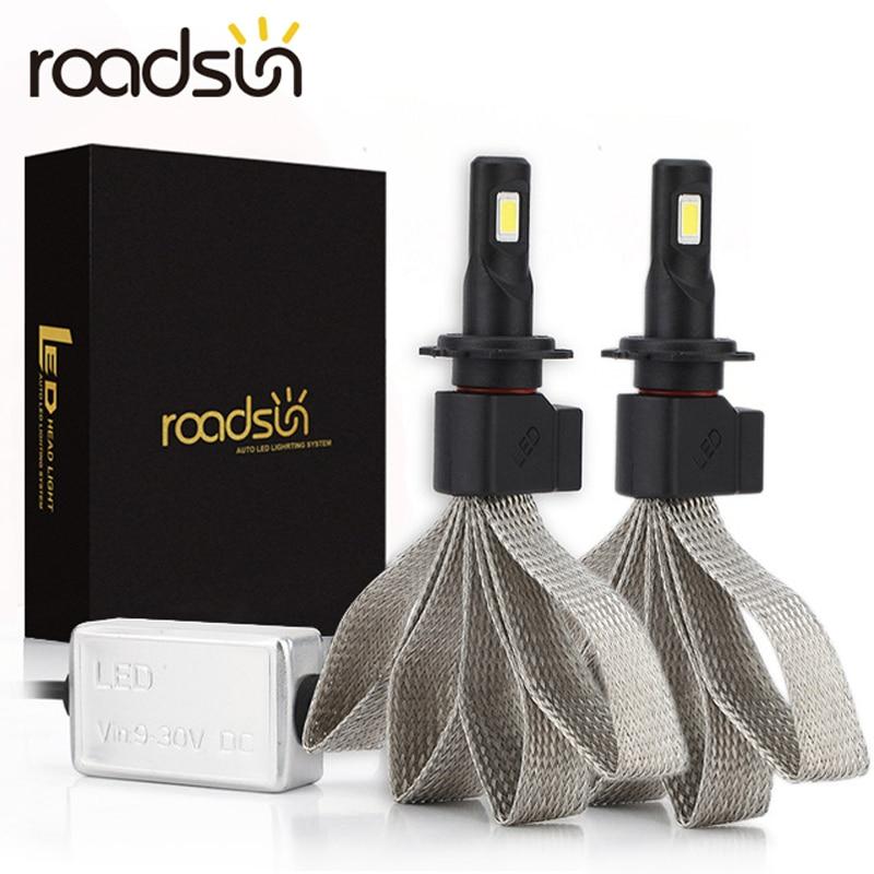 Светодиодный светильник roadsun S7 для автомобильных головок H4 H7 9005 H11 H8 H9 HB1 HB3 9006 9007 880 12V 55W 6000K 12000LM/парная лампа, автомобильный светильник