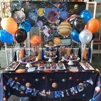 Набор одноразовой посуды для украшения космической Галактики, бумажный стаканчик с солнечной планетой/салфетки/тарелки, детские подарки н...