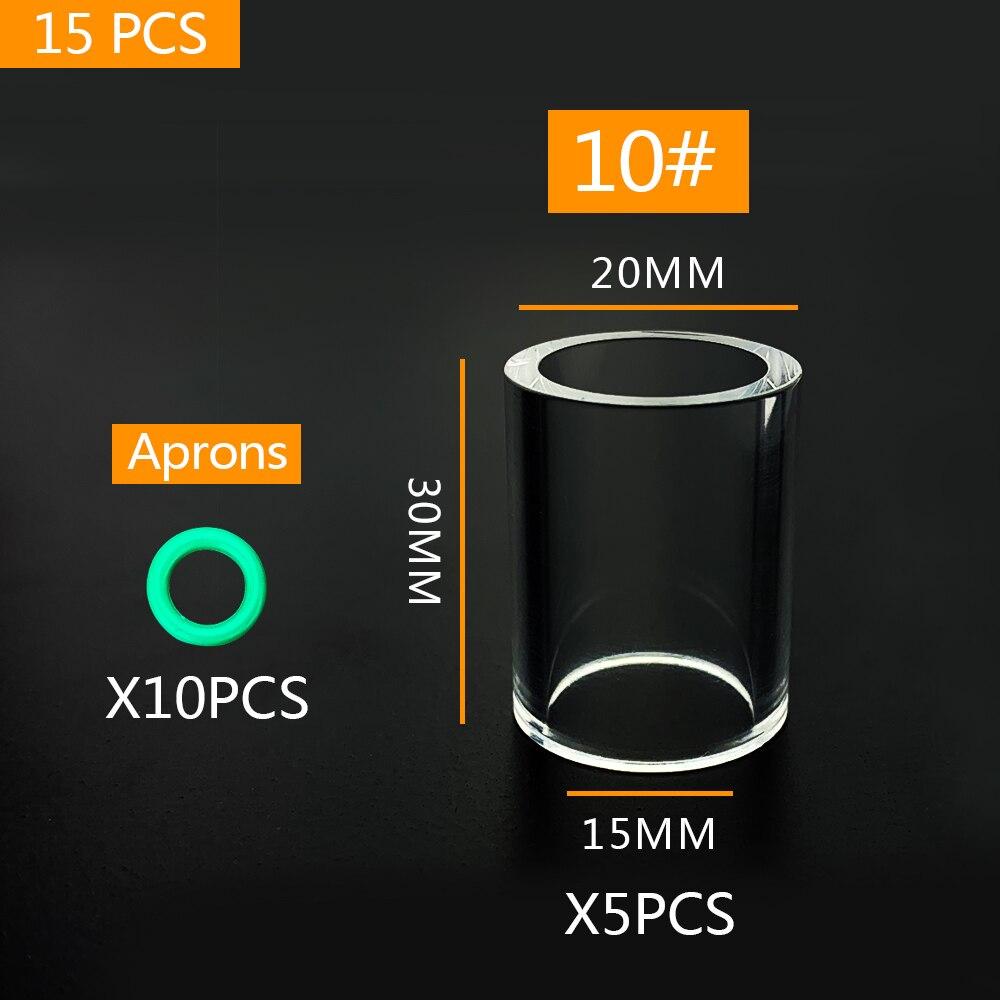 15 шт. сварофонарь TIG, стеклянная чашка из пирекса для WP9 WP20 WP17 WP18 WP26, аксессуары для TIG