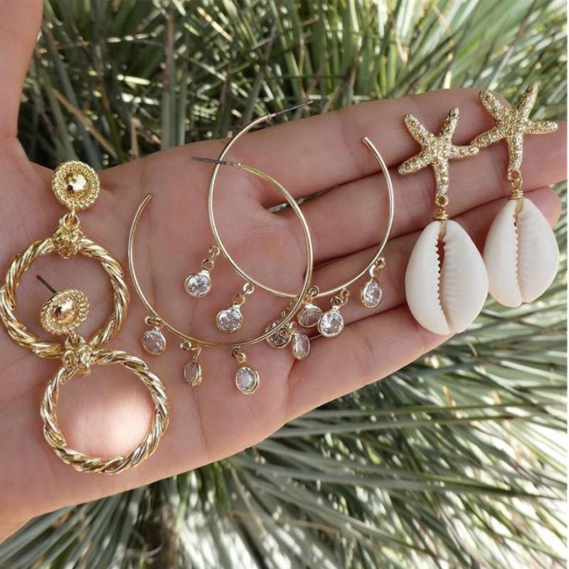 Tocona 3pair/1set Boho Beach Shell Draped Earrings Set Gold Crystal Drop Circle Piercing Earrings Women Statement Jewelry 8975