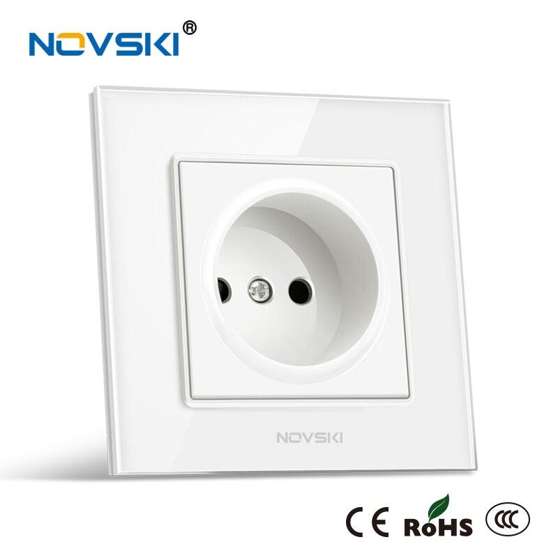 Enchufe eléctrico estándar europeo, enchufe de pared, Material de Bayer alemán, Panel de vidrio templado 16A 110-250V, toma de corriente, NOVSKI