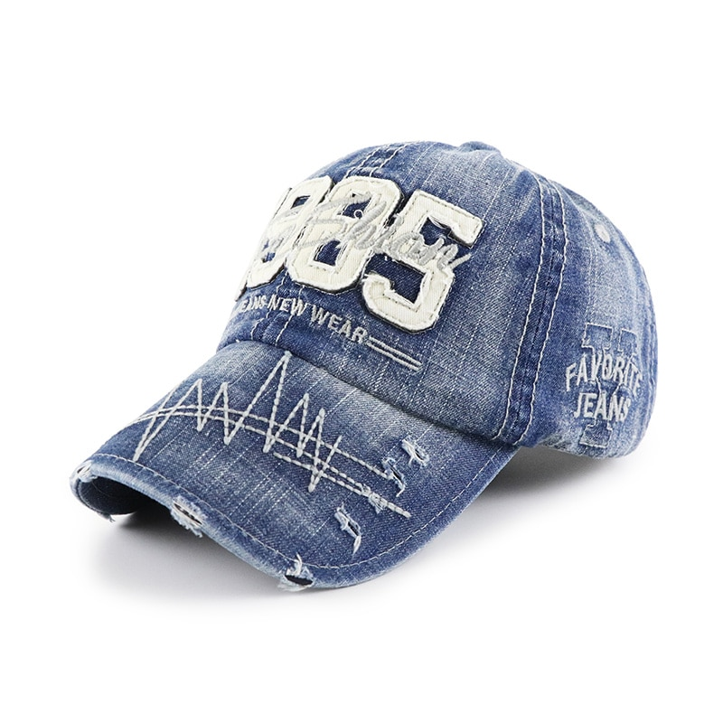 Spring And Autumn Outdoor Peaked Caps Washed Men's Baseball Caps Worn Holes Denim Sunscreen Ladies S
