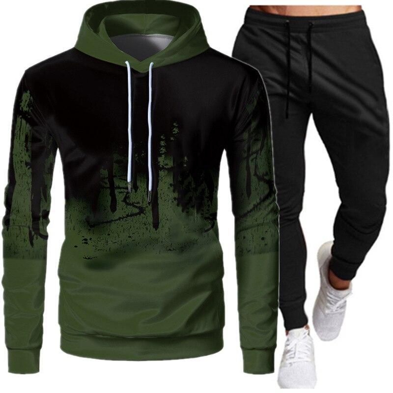 Мужская модная спортивная одежда с капюшоном, Мужская одежда для бега, повседневная спортивная одежда для бега, мужская спортивная одежда д...