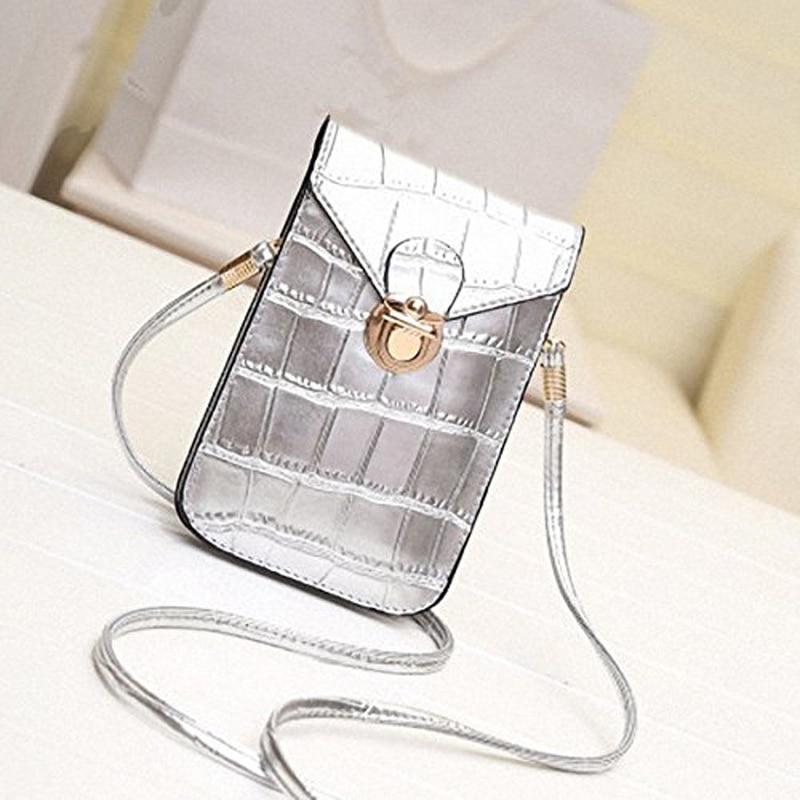 Mini bolsos plateados para teléfono móvil pequeño bolso de hombro de piel de cocodrilo para mujer Bolso Negro Bolso de mano con solapa