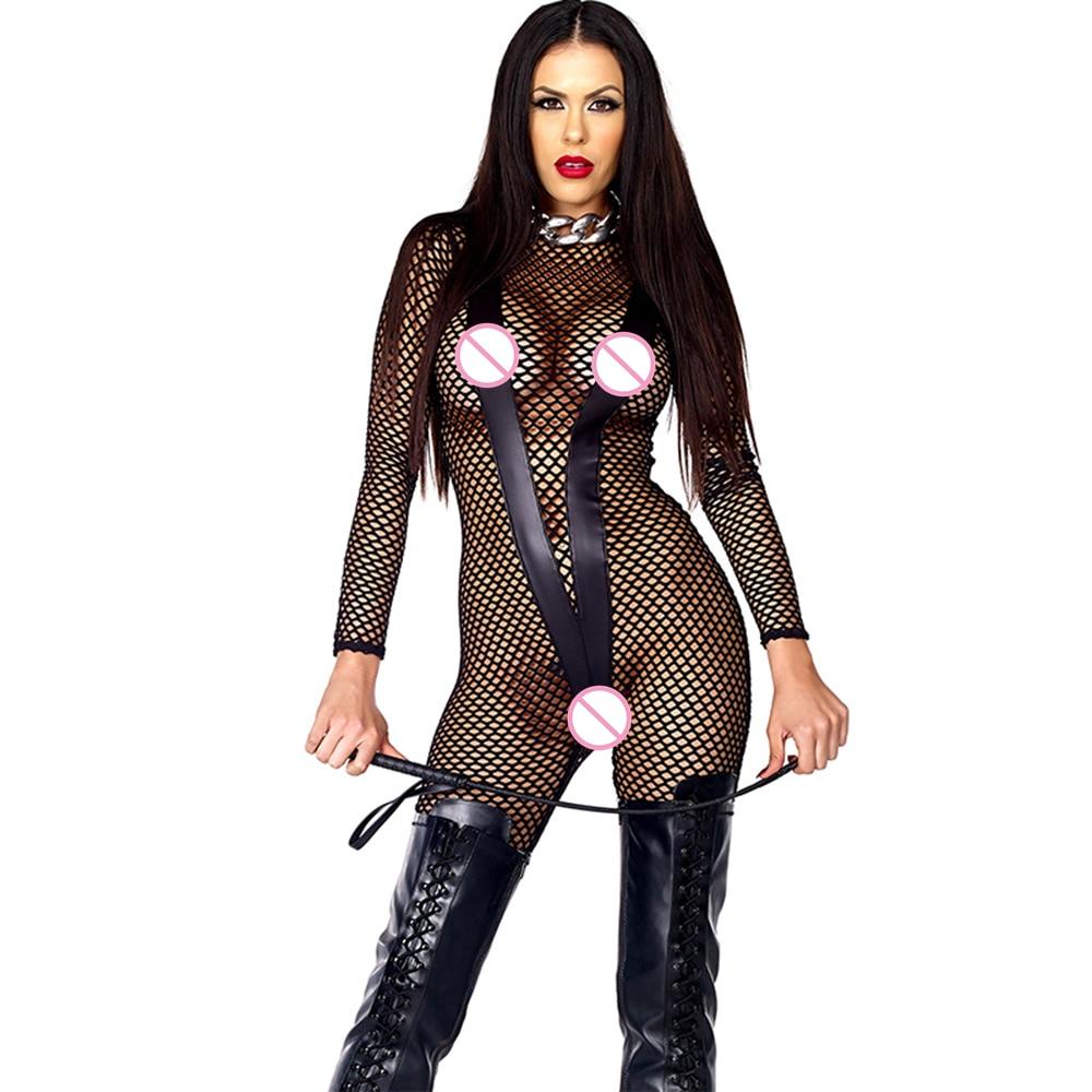 Sexy Plus Size Malha Íntimos Lingerie Bodycon Jumpsuit Mulheres Verão Oco Senhoras Skinny Slim Roupa Interior Roupa Bodysuit