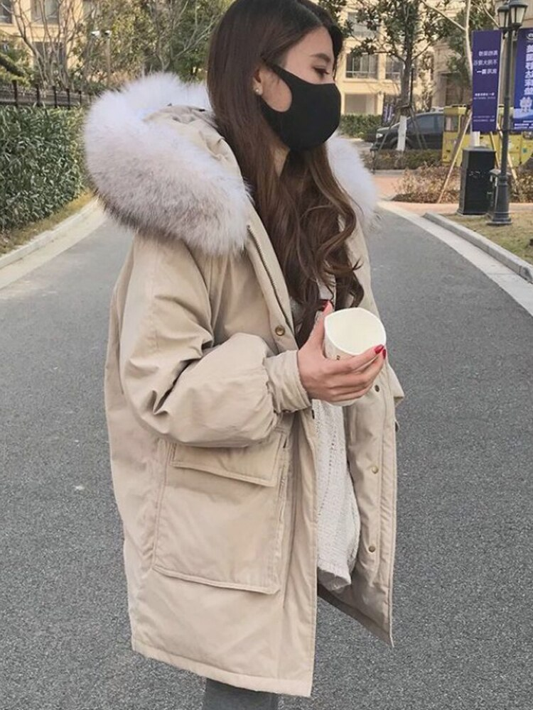 Europe American new fashion woman winter duck down coat with a large raccoon fur hood pocket loose jacket for lady plus big size