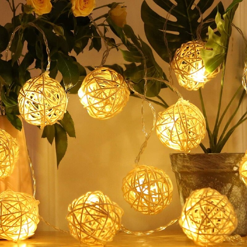 AliExpress - Rattan Ball Christmas Lights String 2.5M 20Leds Warm White Garland 3.2cm Diameter Ball for Holiday Decoration Fairy Lamp Navidad