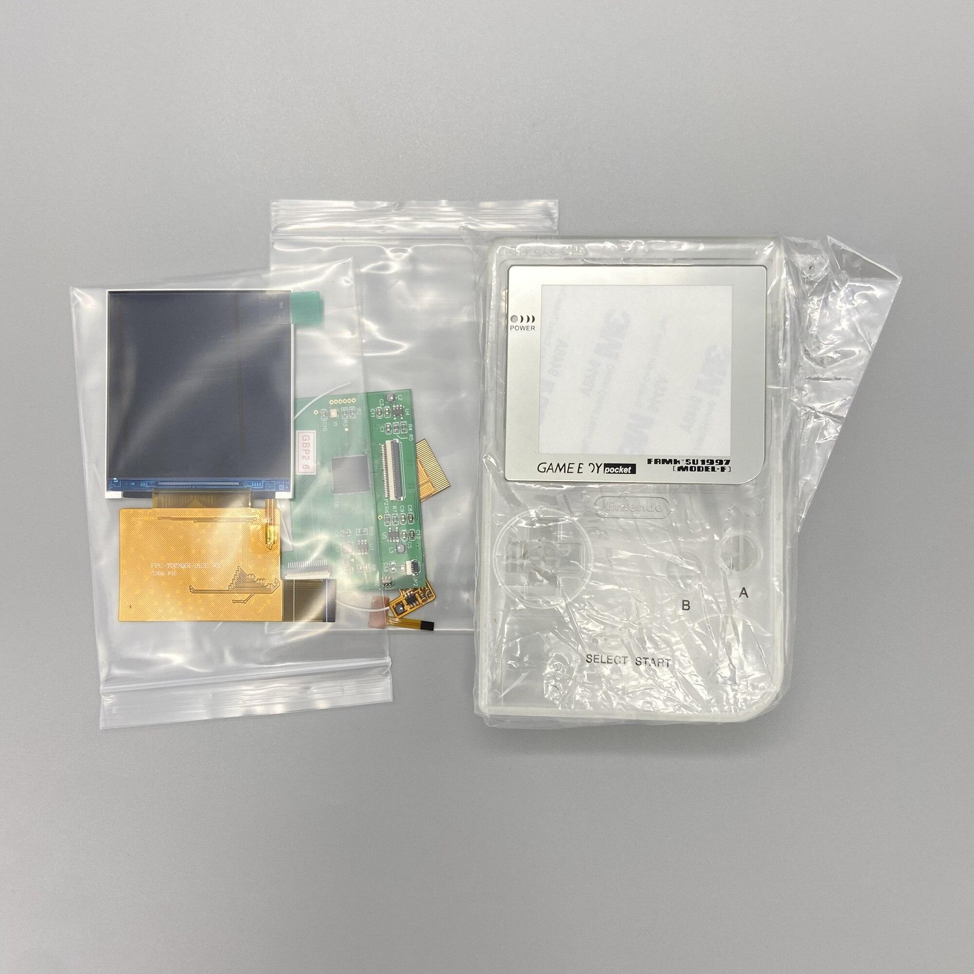 شاشة IPS LCD عالية السطوع 2.6 بوصة ، سهلة التركيب ، مع غلاف GBP لجهاز Nintendo gameboy pocket GBP