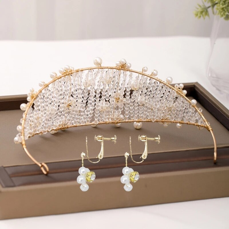 Corona de cristal de moda, Tiara clásica, tocado griego, diadema de perlas para boda, conjunto de pendientes, accesorios para el cabello de novia para mujer