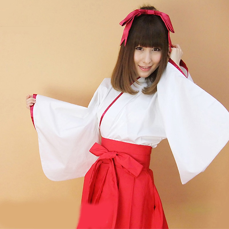 Vestido de Kimonos japonés tradicional japonés Yukata hembra adulta blanco Kimono rojo manga larga Cosplay Performance Costume DQL1880