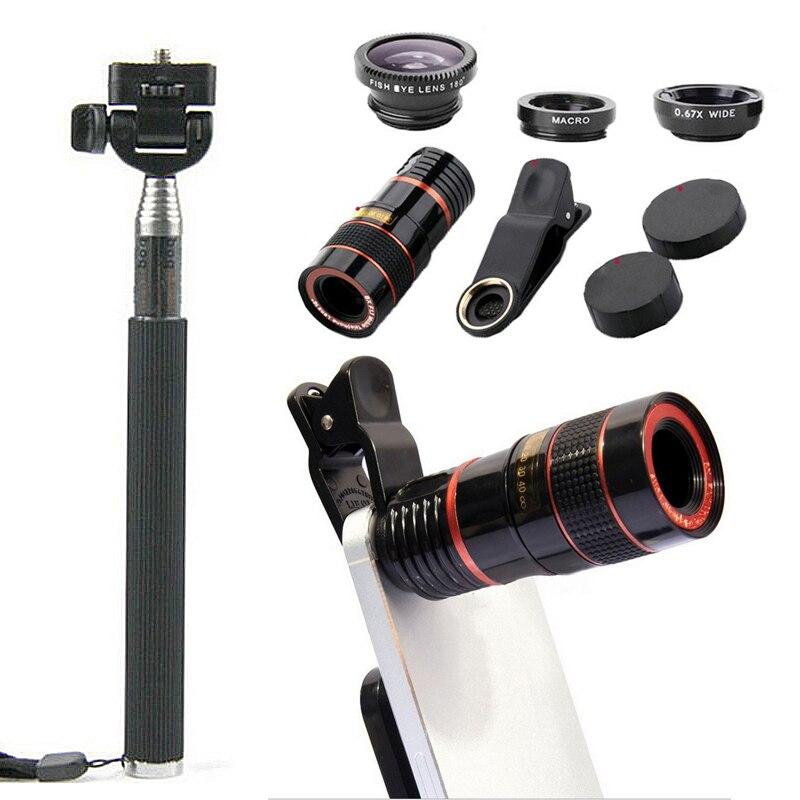 12X/8X كاميرا الهاتف المحمول عدسة تلسكوب 10 عدة مع Selfie عصا ترايبود بلوتوث في الهواء الطلق التصوير حامل قصاصة ترايبود