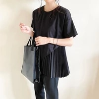japanese style tshirts oblique cut round neck woman t shirt pleated stitching black tops korean fashion new spring 2021 tops