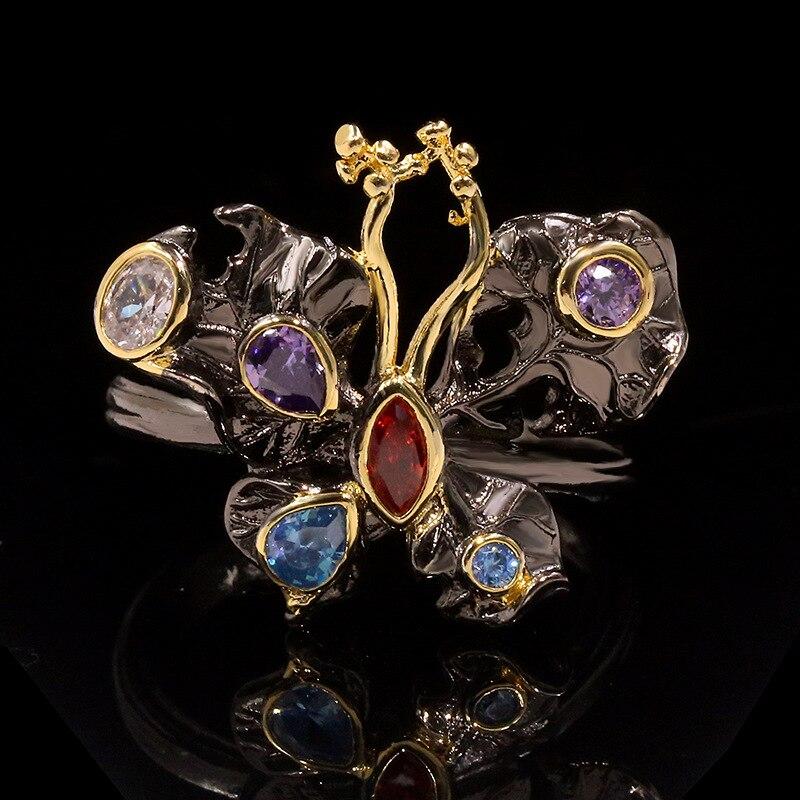 Diseño italiano hecho a mano palacio francés rococó amatista Topacio arco anillo para mujeres boda joyas para fiestas de compromiso regalo
