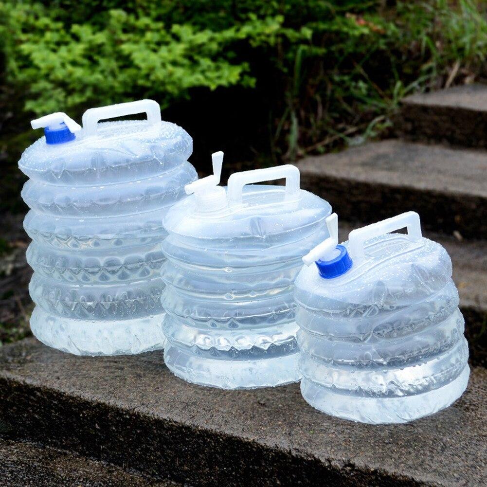 5l 10l 15l balde de água ao ar livre dobrável saco de água pe garrafa de água recipiente para acampamento caminhadas piquenique churrasco com torneira