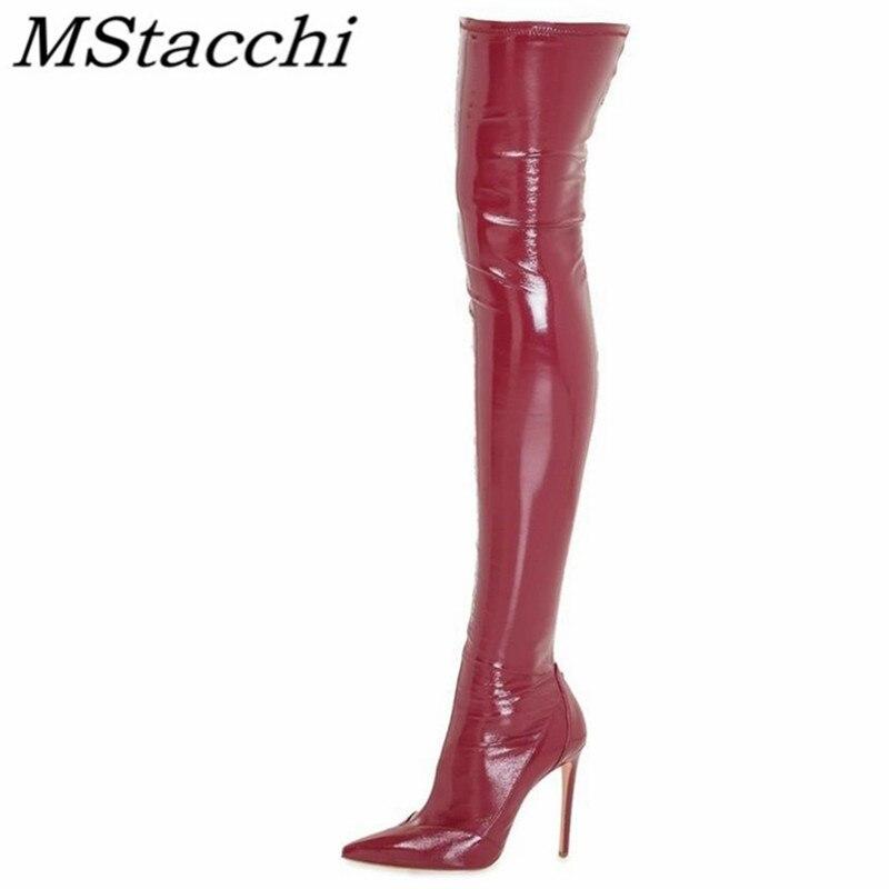 Mstacchi moda vinho vermelho coxa alta botas de couro de patente apontou toe sexy botas femininas zíper elástico sobre o joelho botas femininas
