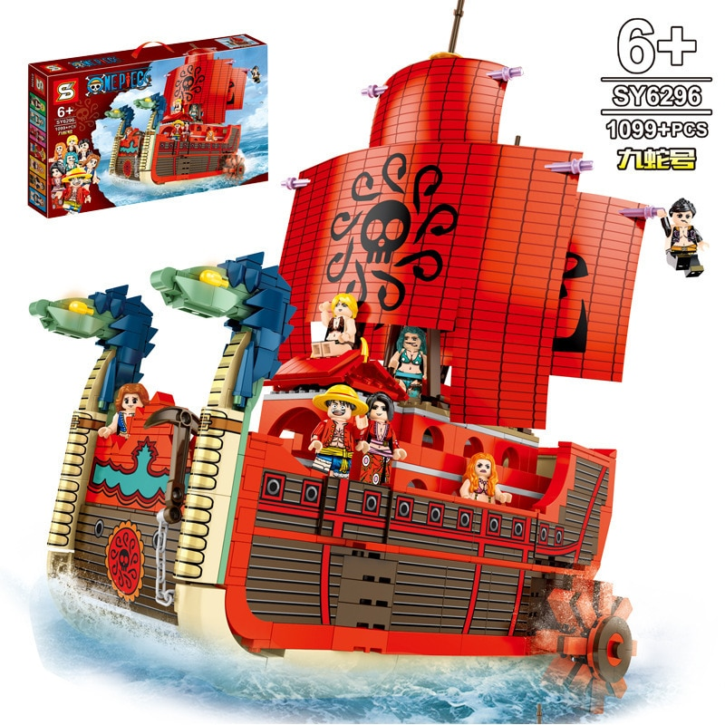 One Piece Luffy Boa Hancock Nine Snake Pirate Ship Building Blocks Kit Bricks Classic Movie Model Kids Toys For Children Gift