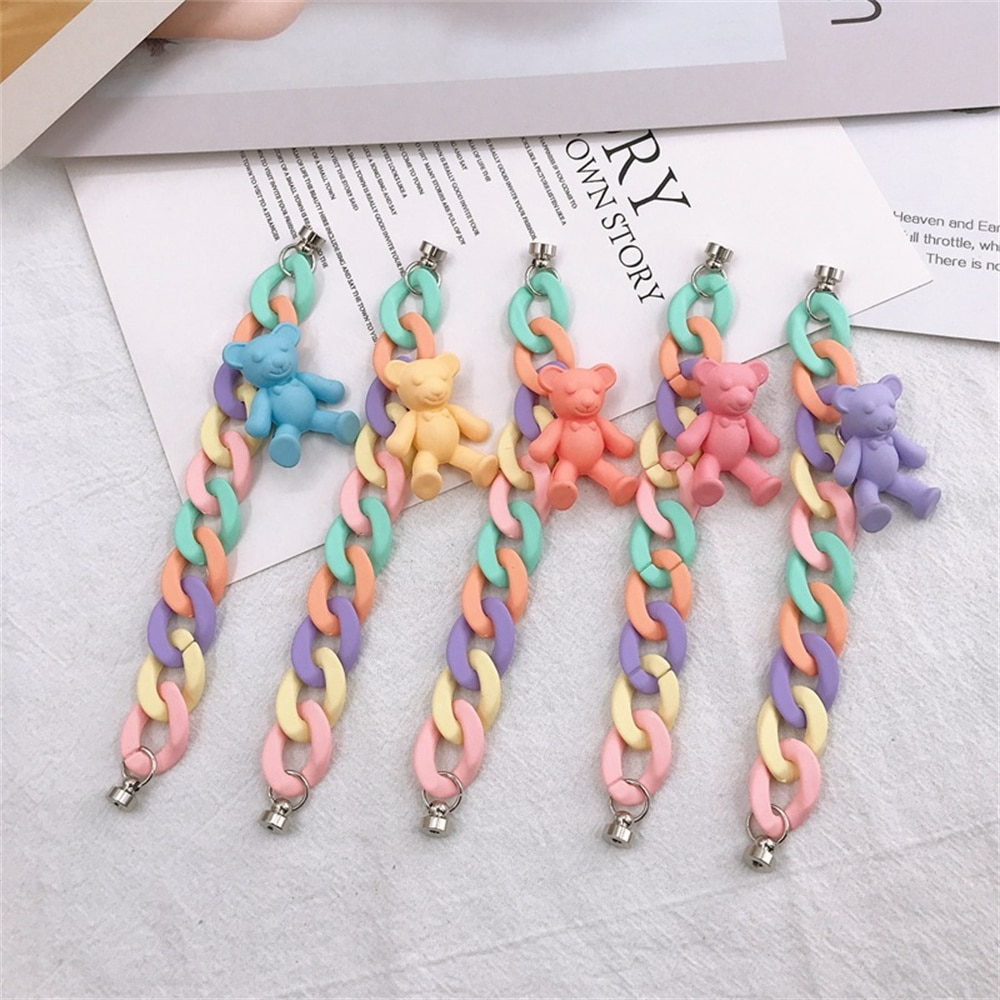 Candy Color Cute Little Bear Mixcolor Acrylic Chain Link For Diy Making Key Chain Phone Case Decoration Jewelry Accessories