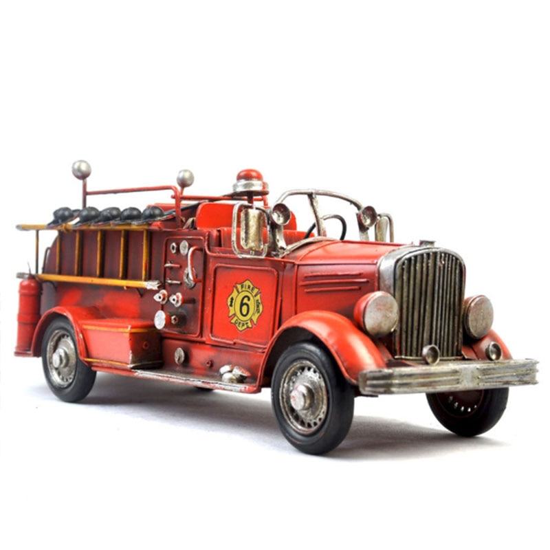1925 Retro Iron Fire Engine camión modelo coche Diecast aleación juguetes de calles para la casa Hold Kids juguete o colección Display