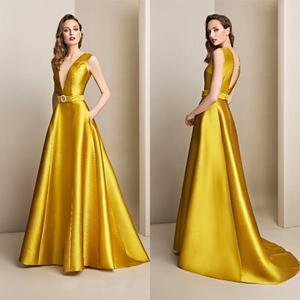2020 Yellow Evening Dresses Deep V Neck A Line Satin Sexy Back Sweep Train Prom Dress Party Wear Custom Made Robes De Soirée