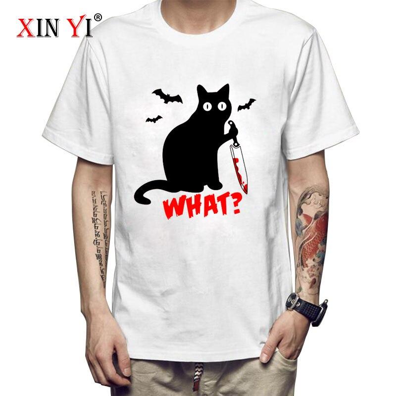XIN YI Men's T-shirt Top Quality100%Cotton knife cat print men T shirt casual loose cat men tshirt o-neck t-shirt men tee shirts xin yi men s t shirt100