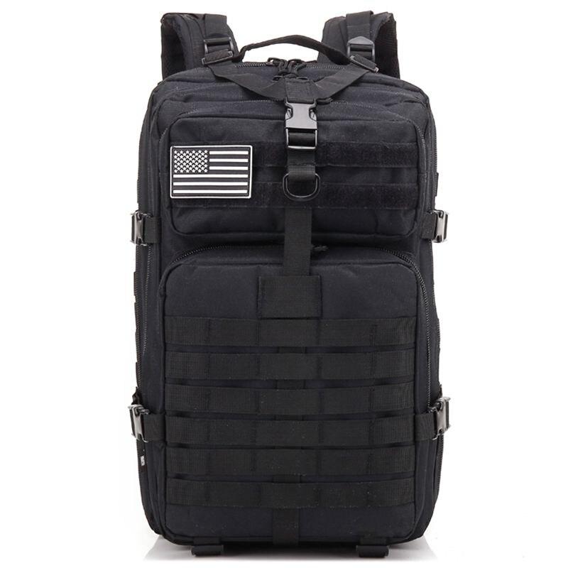 Mochila de asalto táctica 34L, Molle del ejército, impermeable, pequeña mochila para exteriores, senderismo, Camping y caza (negro)