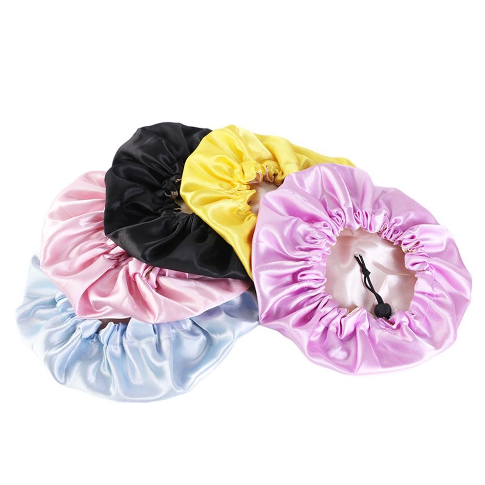 Gorro de satén sedoso para bebé a la moda para niños, gorro para dormir de doble capa ajustable para niña, turbante de noche, sombrero bonito, sombrero sólido, ropa para el cabello