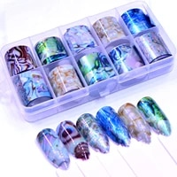 fwc 10 pcs nail foil sticker set holographic starry sky adhesive wraps transfer paper marble shining nail art decal gel slider