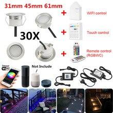 30X 5Pin RGBWW 31/45/61mm 12V IP67 Terrasse LED Deck Treppen Soffitte Schritt Bis Lichter kit WIFI Bluetooth Mesh Controller Timer Dimmer
