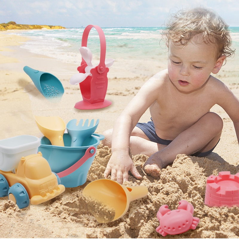 Latest Montessori Beach Silicone Toys For Kids Baby Toys Beach Game Toys Set Summer Toys for Beach P