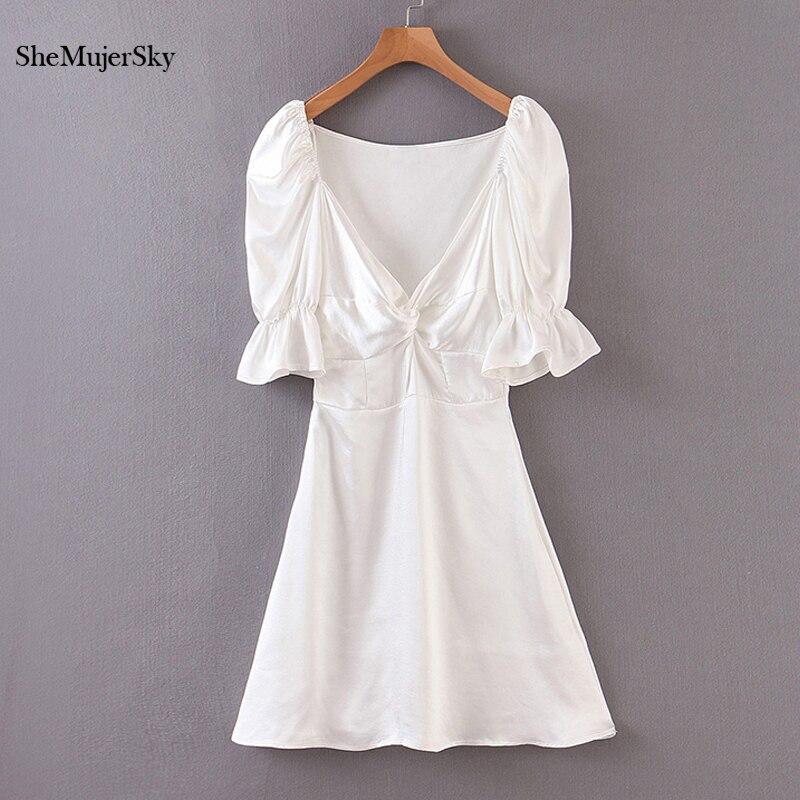 SheMujerSky-vestido de satén blanco para mujer, vestido Midi de manga corta con...