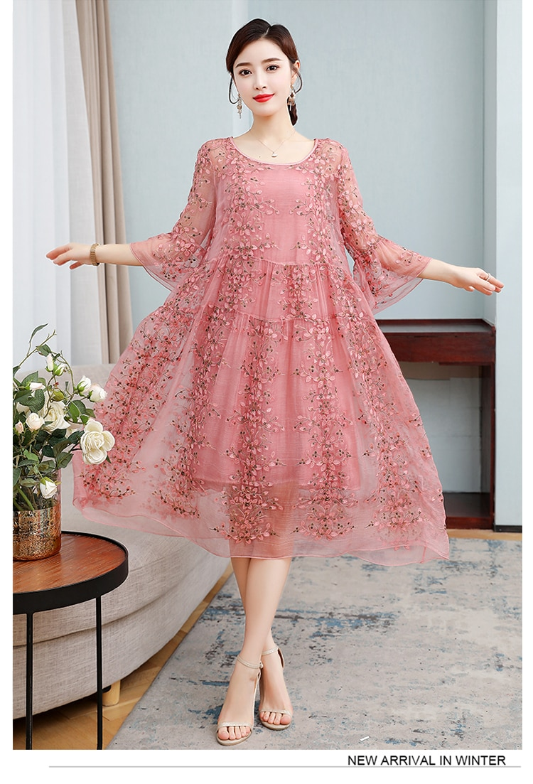ZUOMAN New Spring Plus Size 4xl Dress Summer Female Silk Dress Female Embroidery Long Vestidos Robes Plus 1005002360215661 фото
