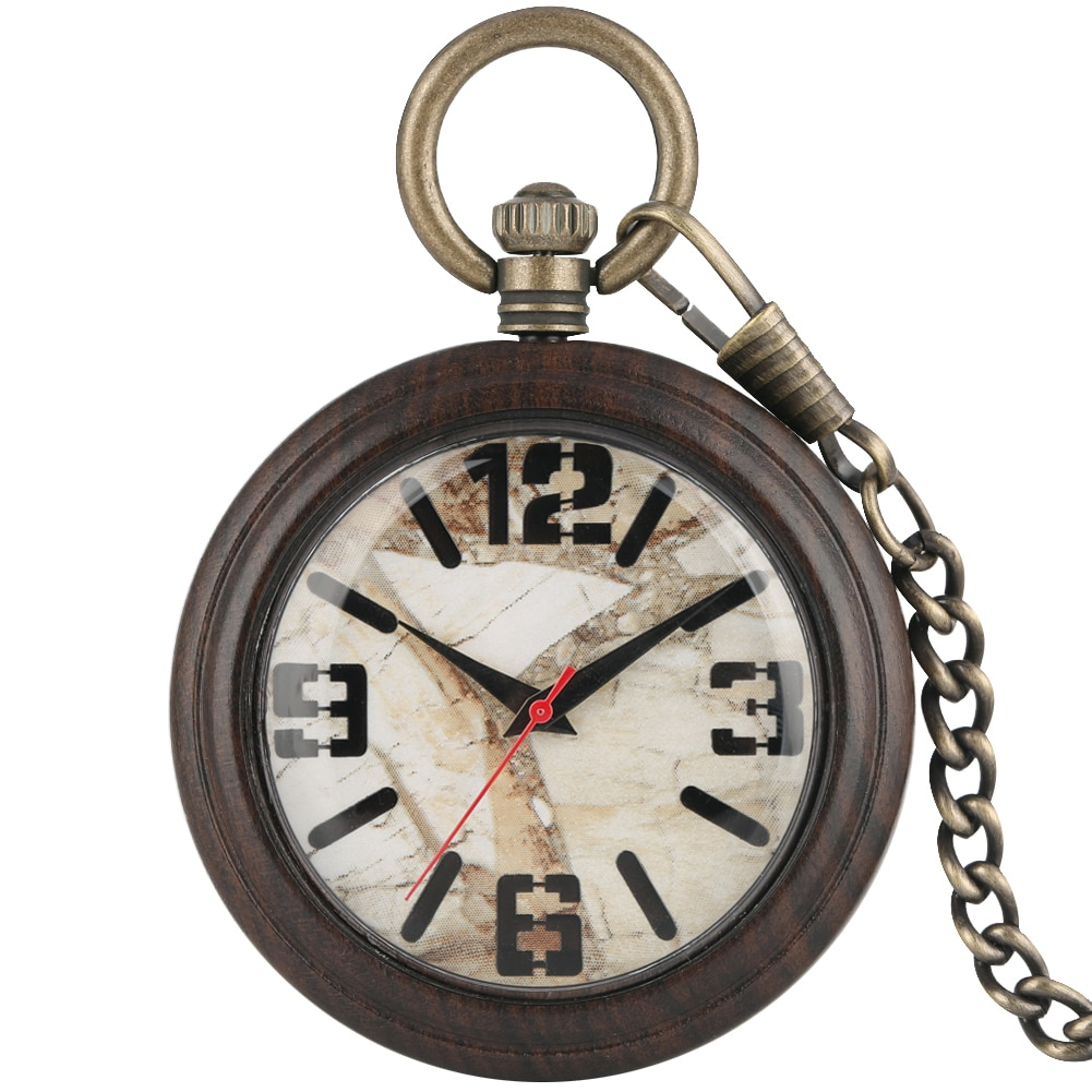 Great Ebony Case Pocket Watch Female Male Clock Marble Surface Dial Necklace Bronze Rough Chain Pendant Watches Gift zakhorloge peacock cover hollow out pocket watch for women arabic numerals dial clock male necklace vintage slim chain pendant zakhorloge